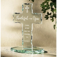 Thankful for You Glass Standing Cross  B3659