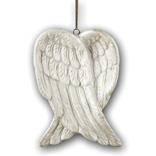 Porcelain White Angel Wings Christmas Tree Ornament - Use as Memorial