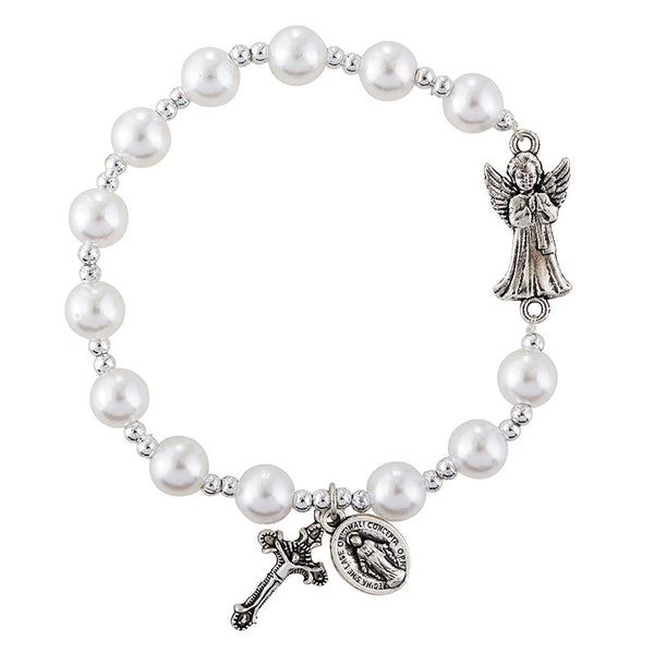 Guardian Angel Imit. Pearl Rosary Stretch Bracelet