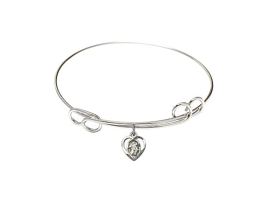 "7.5"" Rhodium Bangle Bracelet with a Sterling Silver Guardian Angel charm - Bliss Jewelers"