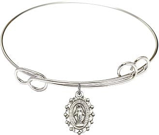 "7.5"" Round Double Loop Bangle Bracelet with Sterling Silver Miraculous Medal"