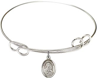 Sterling Silver Saint Therese of Lisieux Charm Double Loop Bangle Bracelet - Choose Size