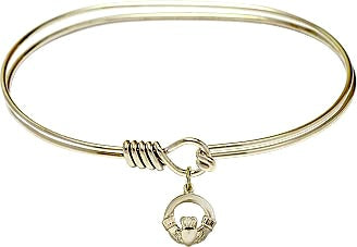 "7"" Hamilton Gold Oval Eyehook Bangle Bracelet w/ Gold Filled Claddagh Charm Irish"