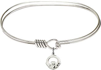 "7"" Rhodium Oval Eyehook Bangle Bracelet with Sterling Silver Claddagh Charm Celtic"