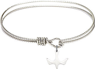 "Silver Holy Spirit Dove on 7.25"" Rhodium Bangle Bracelet - Confirmation Gift!"