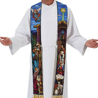 Stained Glass Nativity Overlay Stole by R. J. Toomey - Christmas Vestment Michael Adams Artwork