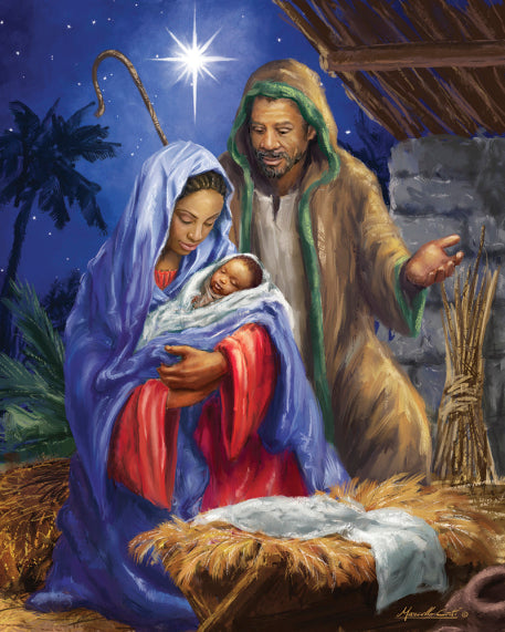 African American Holy Family Advent Calendar Nativity by Vermont Christmas Company