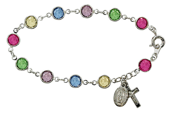 "7.5"" Multi-Color Austrian Crystal Bracelet with Crucifix & Miraculous Medal Charm McVan BR190"