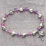 6MM Pink Glass Beads Stretch Bracelet with Silver Ox  Miraculous Medal & Crucifix
