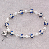Blue & White Pearl Heart Glass Beads Stretch Bracelet with Miraculous Medal & Crucifix