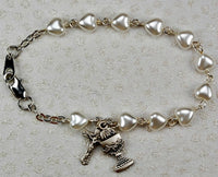 "First Communion 6.5"" White Pearl Heart Bracelet with Chalice & Crucifix Charms"