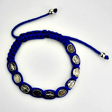 Miraculous Medal Blue Cord Adjustable Bracelet by McVan