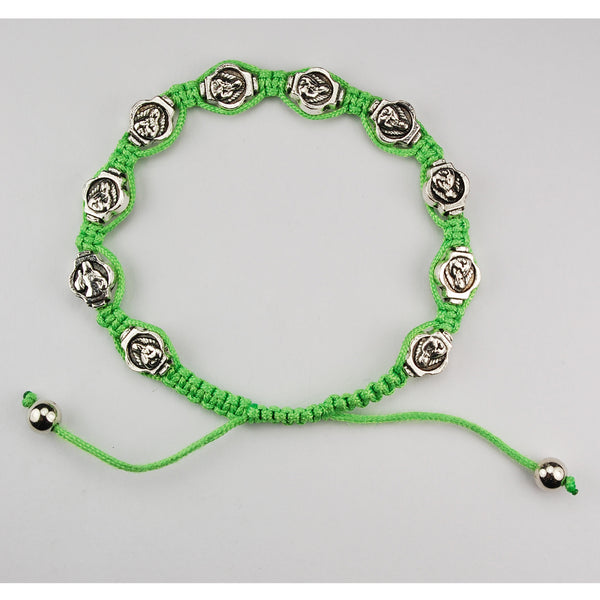 Our Lady of Guadalupe medals on Green Cord Adjustable Bracelet