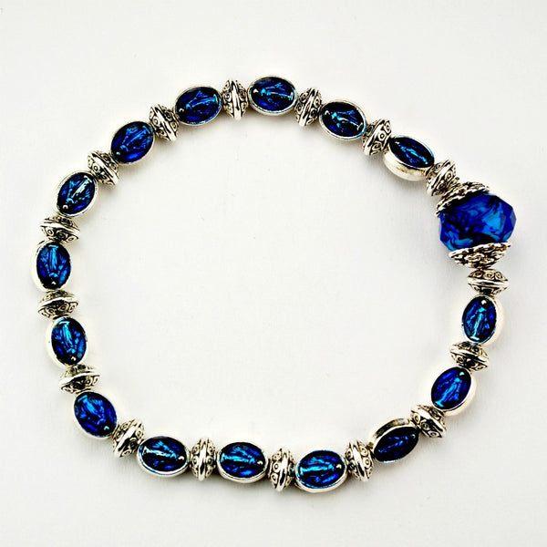 Blue Enameled Miraculous Medal Stretch Bracelet With Blue Capped Crystal Bead