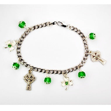 "7.5"" Green Irish Celtic Charm  Bracelet McVan BR650CS"