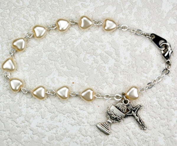 First Communion Heart Shaped Pearl Bracelet Chalice & Crucifix Charms