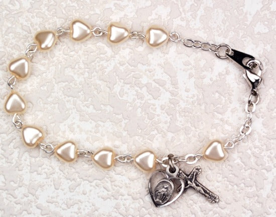 "First Communion 6.5"" White Pearl Heart Bracelet with Miraculous Medal & Crucifix Charms McVan BR67WM"