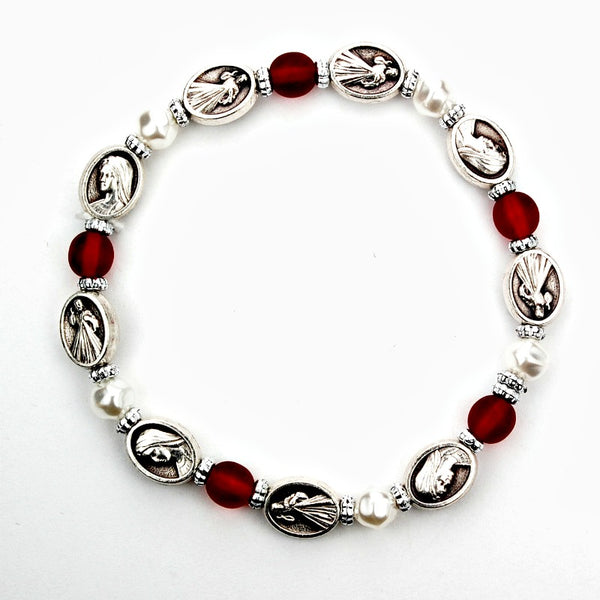 Red & Pearl Beaded Divine Mercy Stretch Bracelet - Made in Italy!