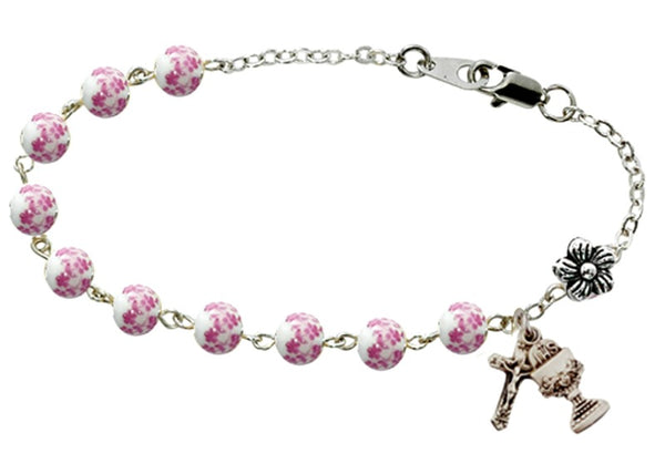 First Communion Pink Floral Beads Chalice & Crucifix Charm Bracelet McVan BR751W