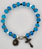 Color beaded rosary stretch bracelet with Crucifix and Miraculous Medal charms. YOU CHOOSE COLOR!