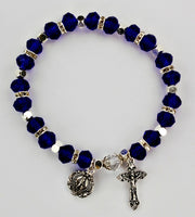 Color beaded rosary stretch bracelet with Crucifix and Miraculous Medal charms McVan BR815C