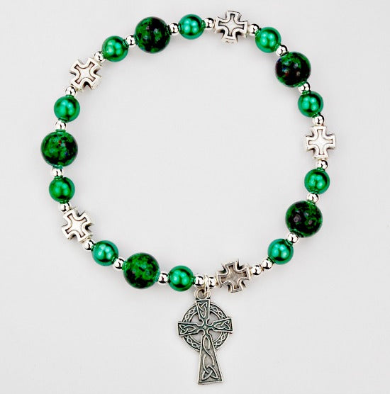 Green Celtic Cross Stretch Bracelet by McVan