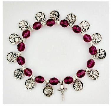 8MM Purple Stations of the Cross Charm Bracelet MADE IN ITALY!
