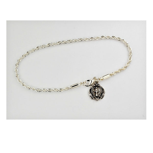 "7.5"" Rope Bracelet with Miraculous Medal Charm McVan BR878C"