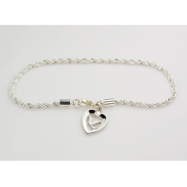 "7.5"" Chain Bracelet with Holy Spirit Dove in Heart Charm - Confirmation Gift! McVan BR879"