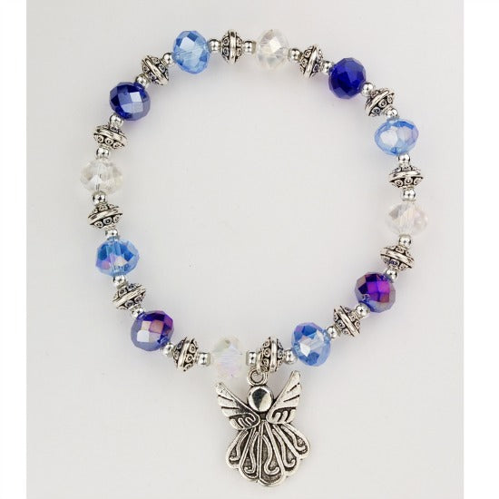 Blue and Crystal Angel Stretch Bracelet Inspirational McVan BR936C