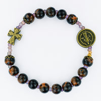 Black Painted St. Benedict Stretch Bracelet McVan BR965C