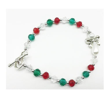Red & Green Beaded and Pearl Angel Christmas Bracelet McVan BR973C