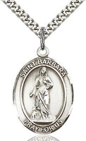 Sterling Silver St. Barbara Oval Patron Medal Pendandt Necklace by Bliss