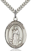 Sterling Silver St. Barnabas Oval Medal Pendant Necklace by Bliss