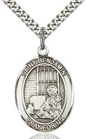 Sterling Silver St. Benjamin Patron Oval Medal Pendant Necklace by Bliss