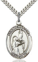 Sterling Silver St. Bernadette of Lourdes Oval Patron Medal Pendandt Necklace by Bliss