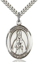 Sterling Silver St. Blaise Patron Oval Medal Pendant Necklace by Bliss
