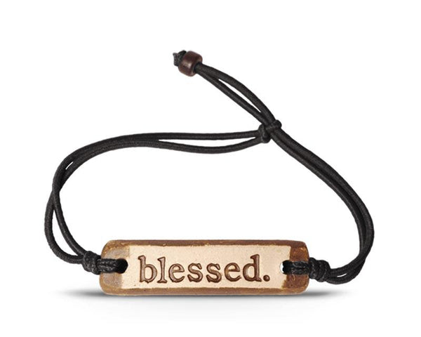 "MudLove ""Blessed"" Inspirational Pottery & Cord Bracelet MADE IN THE USA!"