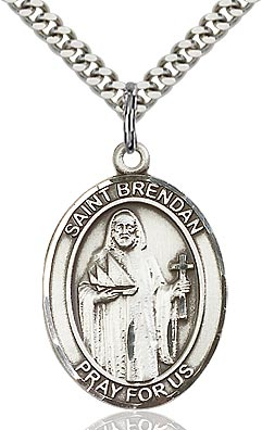 Sterling Silver St. Brendan the Navigator Patron Oval Medal Pendant Necklace by Bliss