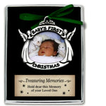 Baby's First Christmas Photo Metal Ornament w/ Angels NEW Boxed - Cathedral Art
