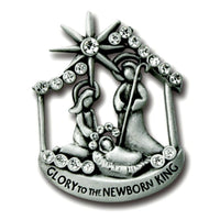 "Pewter & Crystal Nativity Lapel Pin ""Glory to the Newborn King"" by Cathedral Art"