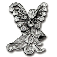 Pewter & Crystal Angel with Trumpet Christmas Lapel Pin by Cathedral Art
