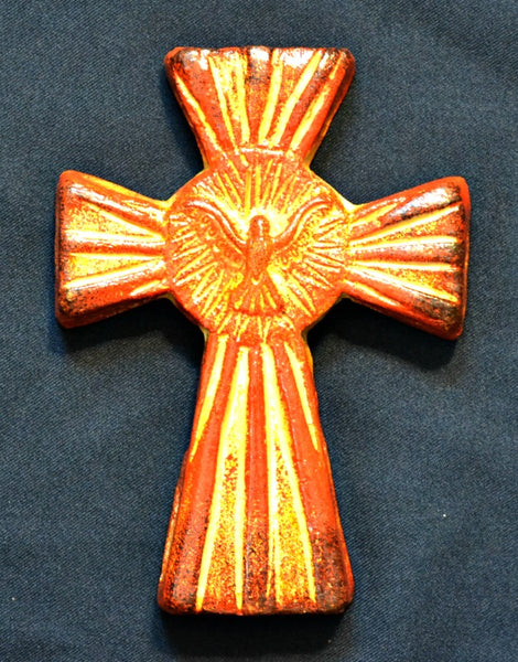 "Handcrafted Clay Holy Spirit 7"" Wall Cross - Great Confirmation Gift FAIR TRADE ITEM"