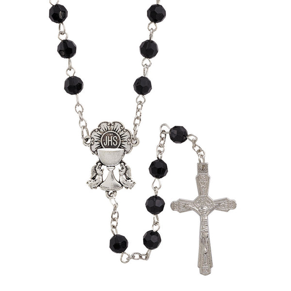 Black Faceted Bead First Communion Rosary Autom D1129