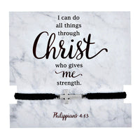 I Can Do All Things Through Christ Adjustable Bracelet with Card Autom D1279