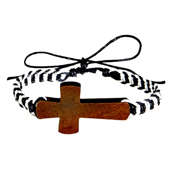 Adjustable Wood Cross Cord Bracelet Threads of Faith