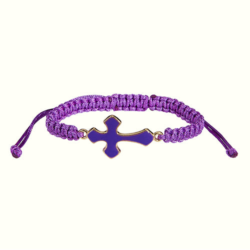 Adjustable Enamel Cross Cord Bracelet Threads of Faith