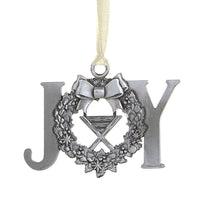 Joy & Manger in Wreath Antique Style Metal Christmas Ornament Nativity Autom D3530