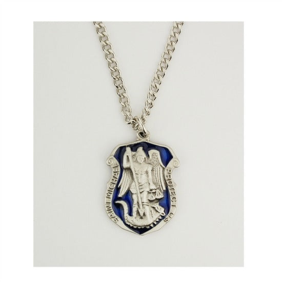 St. Michael Blue Enamel & Pewter Police Shield Pendant Necklace