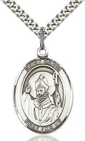 Sterling Silver St. David of Wales Patron Oval Medal Pendant Necklace by Bliss